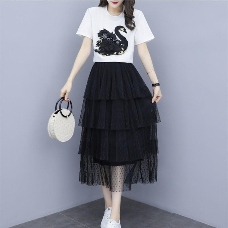 5e426f2b75fe8 2019 Summer Fashion Women Set Elegant Swan Embroidery Short Sleeve T Shirt  Top Mesh Gauze Skirt Suit Two Piece Sets