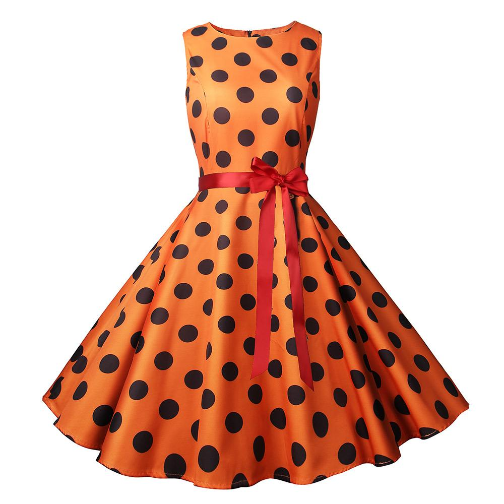 New Women Vintage Dress Black Polka Dot Summer belt Dresses Plus Size Pin  Up Print Retro 50s Rockabilly Party Sundress Vestido
