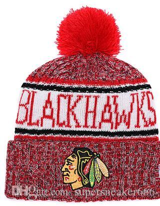 BLACKHAWKS Hut Eishockey CHICAGO Strickmützen Stickerei Einstellbarer Hut Bestickte Hysteresenkappen Sport Strickmütze 01