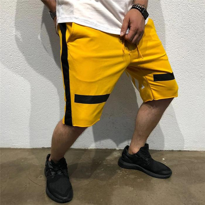 Summer Striped Hiphop Mens Shorts Fitness Training Shorts Sports Knee Length Pants Basketball Gym Loose Trousers