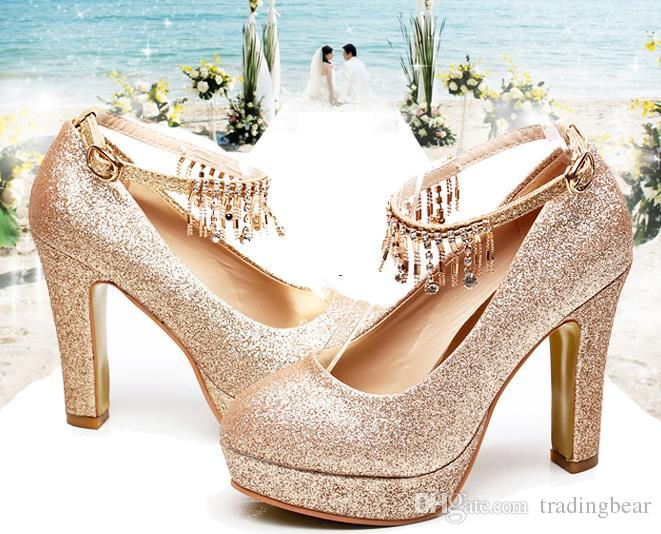 Big Small Size 33 To Size 40 41 42 43 Glitter gold rhinestone platform thick heel platform pumps wedding shoes prom dress shoes