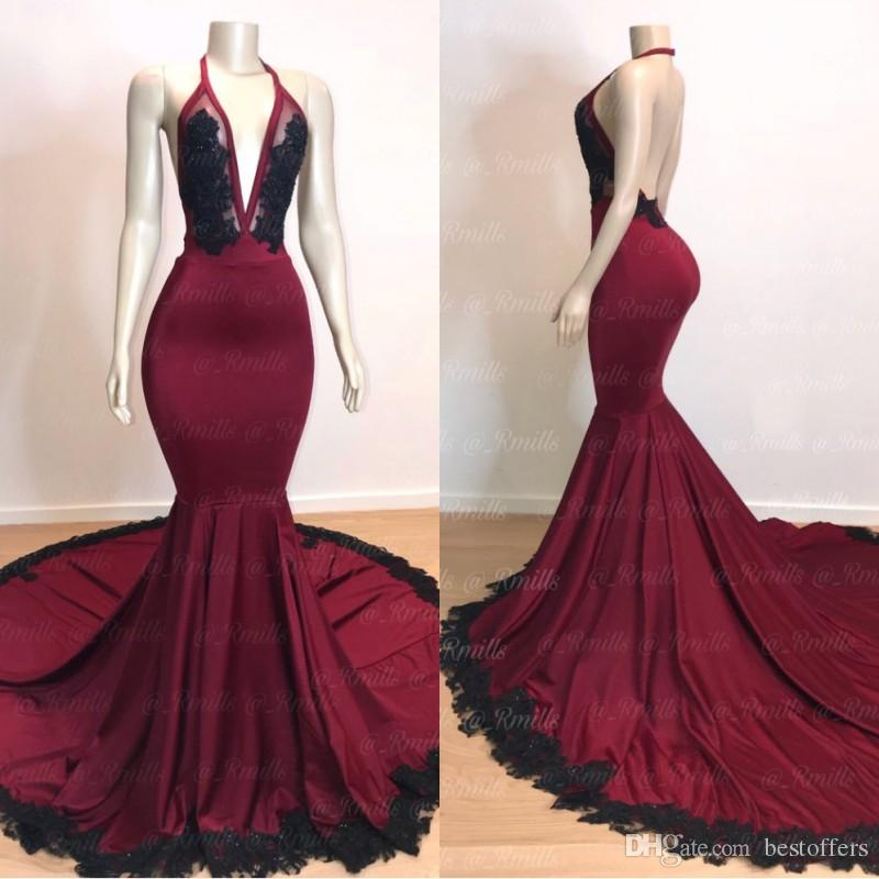0b66ca58026 2019 Sexy Dark Red Deep V Neck Mermaid Prom Dresses Backless With Black  Lace Applique Plus Size Evening Gowns Sheer See Through Party Dress Prom  2015 ...