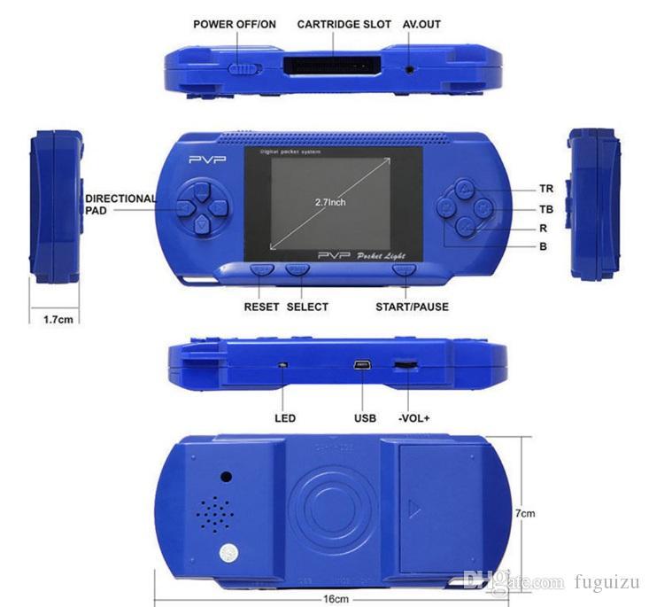2,7-Zoll-Bildschirm PXP3 Handheld TV Videospielkonsole 16 Bit Klassischen tragbaren PXP3 Schlank-Station Pocket-Game-Spieler mit Kleinpaket