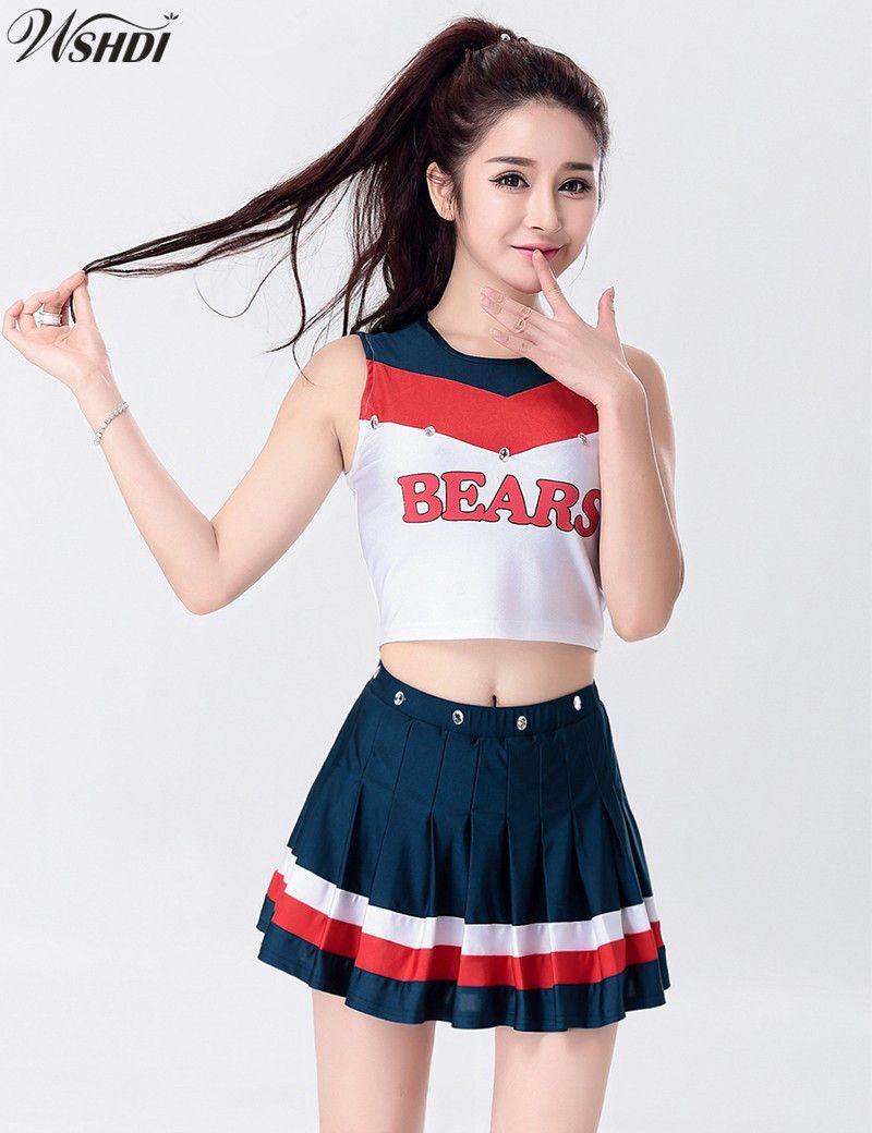 401458a3719713 2019 S XXL Fashion Sexy High School Musical Cheerleader Uniform Cheer Girls  Cheerleading Costume Tops And Skirt From Biaiju