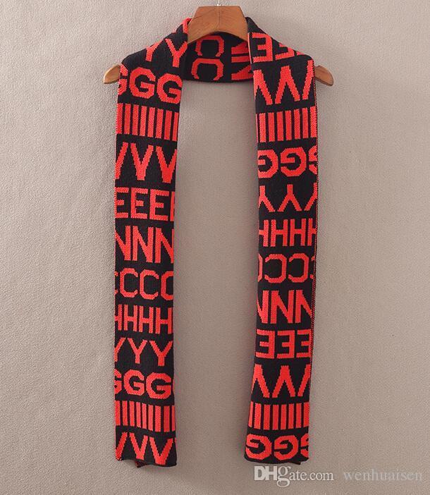 Branded Women Jacquard Pattern Knitted Scarf Designer Men Letter