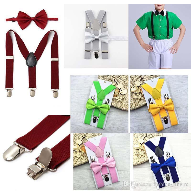 aa472a6445e0 Soild Color Kids Elastic Suspenders Bow Tie Set Matching Tuxedo Suit ...