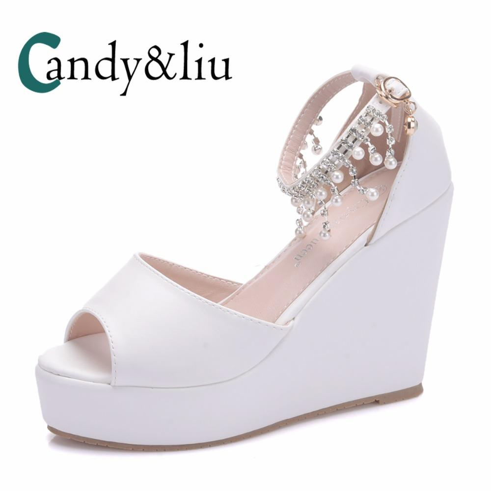 2c8d7300d91 White Women Wedge Sandals Large Size Peep Toe Super High Heel Lady Pumps  With Platform Ankle Strap Party Banquet Casual Dress Cheap Shoes Wedge  Sneakers ...