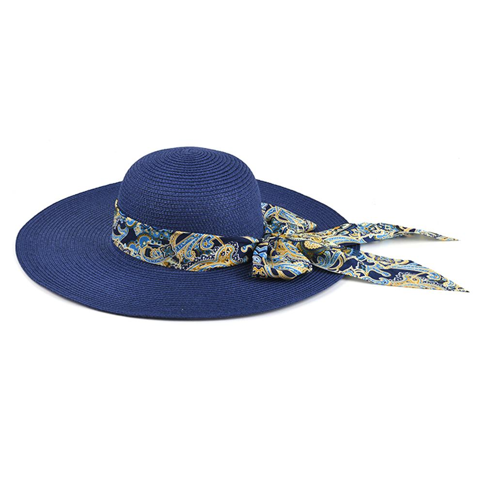 Travel Fashion UV Protection Straw Hat Sunproof Wide Brim Summer Women Casual Bowknot Embellish Outdoor Holiday Foldable Beach