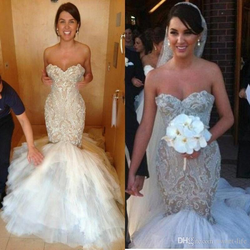 e7522ceaa79 2019 Exquisite Lace Appliques Beads Sequin Mermaid Wedding Dresses Custom  Made Plus Size Sweetheart Sweep Train Tulle Bridal Gowns Modest Bridal Gowns  Sexy ...