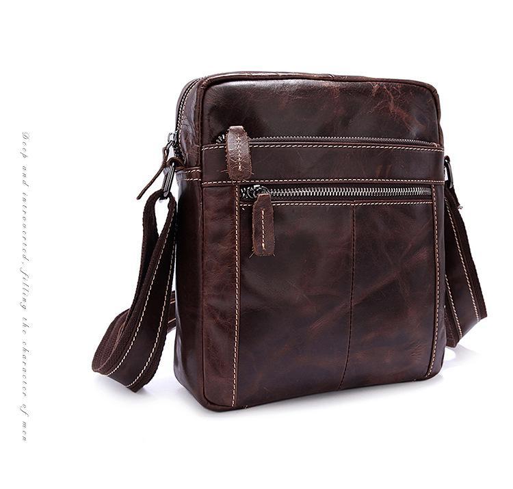 Genuine Leather Men s Bags Retro Men s One-shoulder Oil Wax Cowhide ... c08af75dde3ec