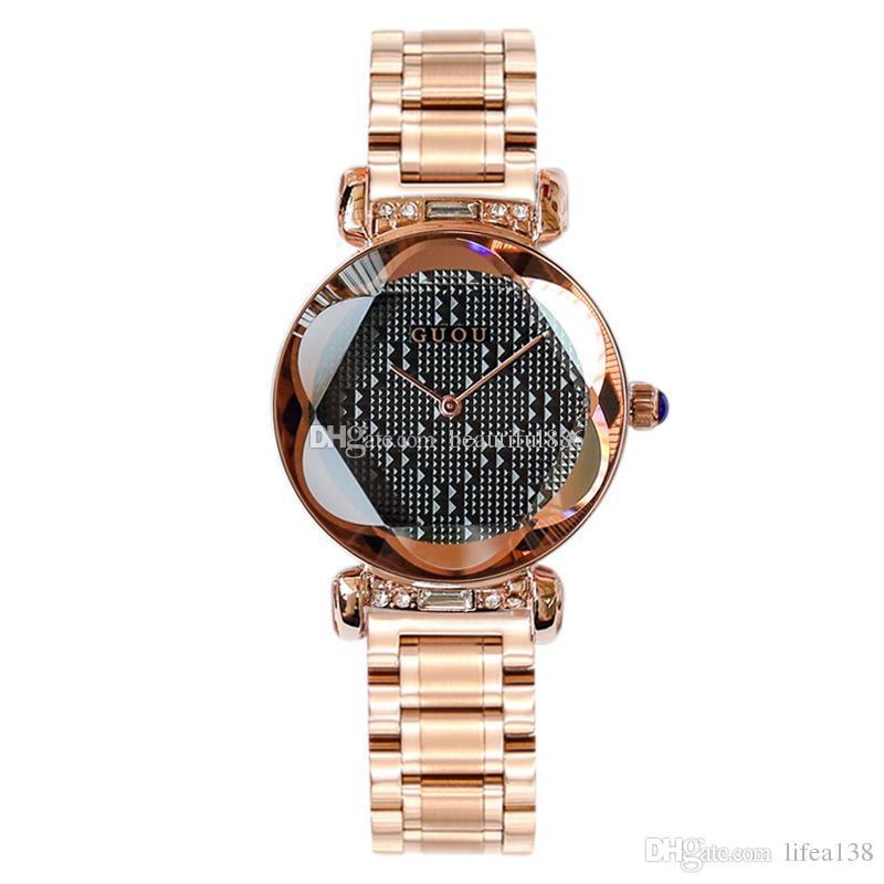 32430c49f6f8 Compre 100% Hot GUOU Marca De Cuarzo Señora Reloj Rhinestone Impermeable  Mujeres Personalidad 3D Espejo Acero Exclusivo Dial Reloj De Pulsera De Lujo  Con ...