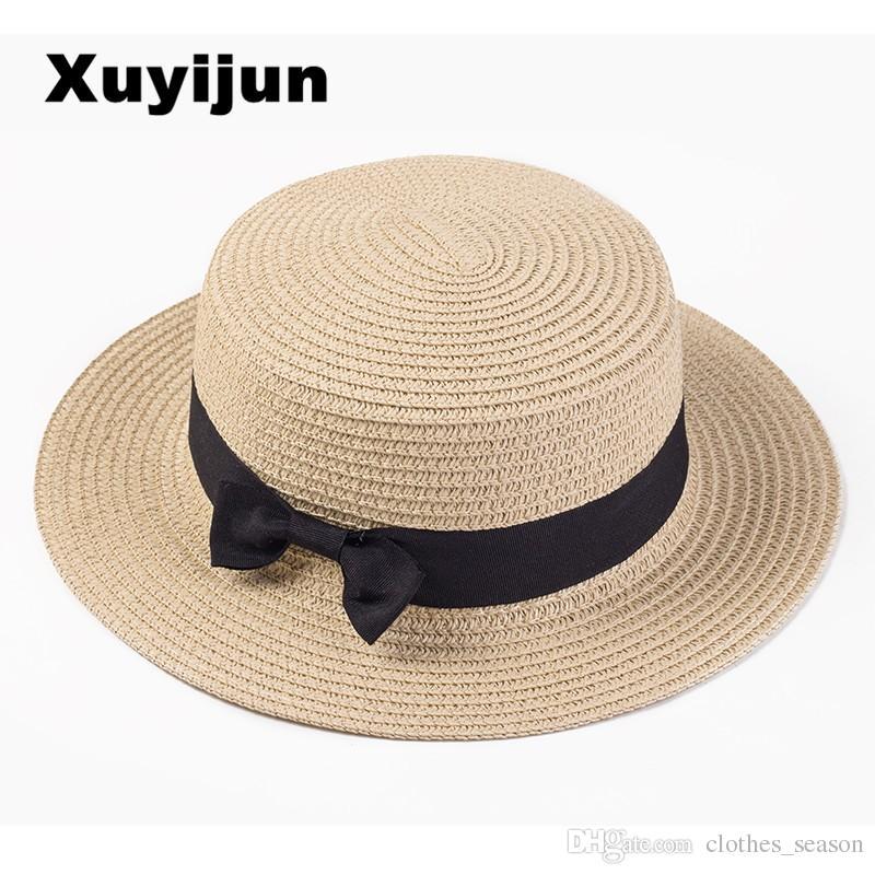 Compre Xuyijun Lady Boater Sombreros Para El Sol Cinta Redonda Con Parte  Superior De Paja Sombrero De Playa Sombrero De Panamá Sombreros De Verano  Para ... 880a0be25ef