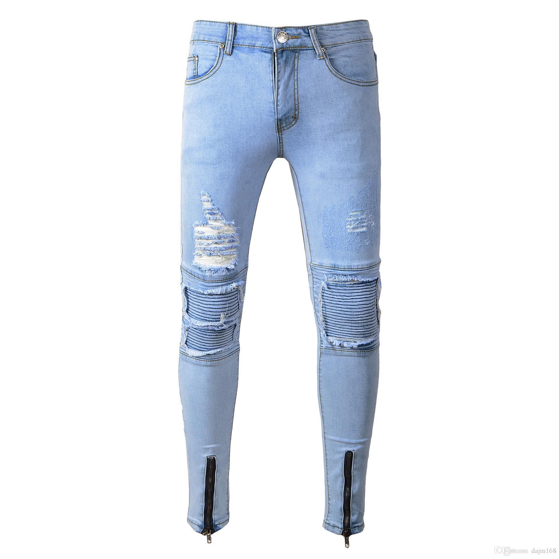 428a64d423a8 2019 Fashion Mens Straight Slim Fit Hole Biker Jeans Light Colored Washed  Pencil Pants Ripped Destroyed Denim Jeans Hip Hop Streetwear Blue From  Dajm168, ...