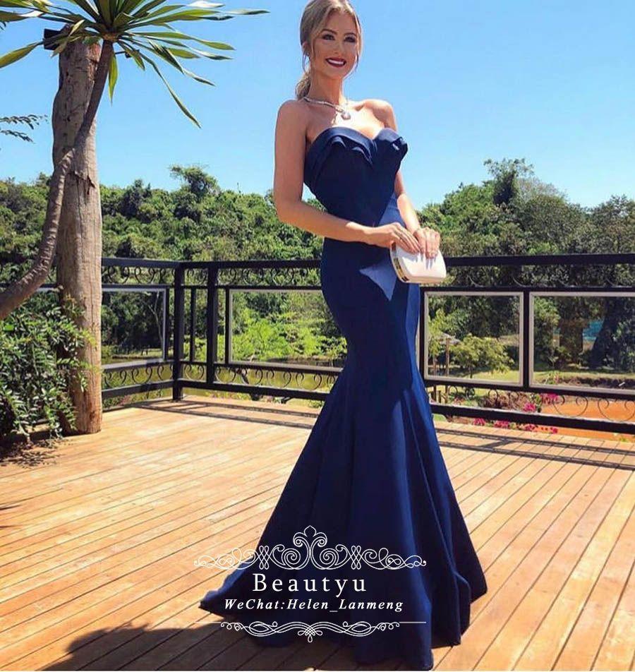 Royal Blue Sexy Mermaid Evening Dresses 2019 Custom Made Sweetheart ... 977e043831e9