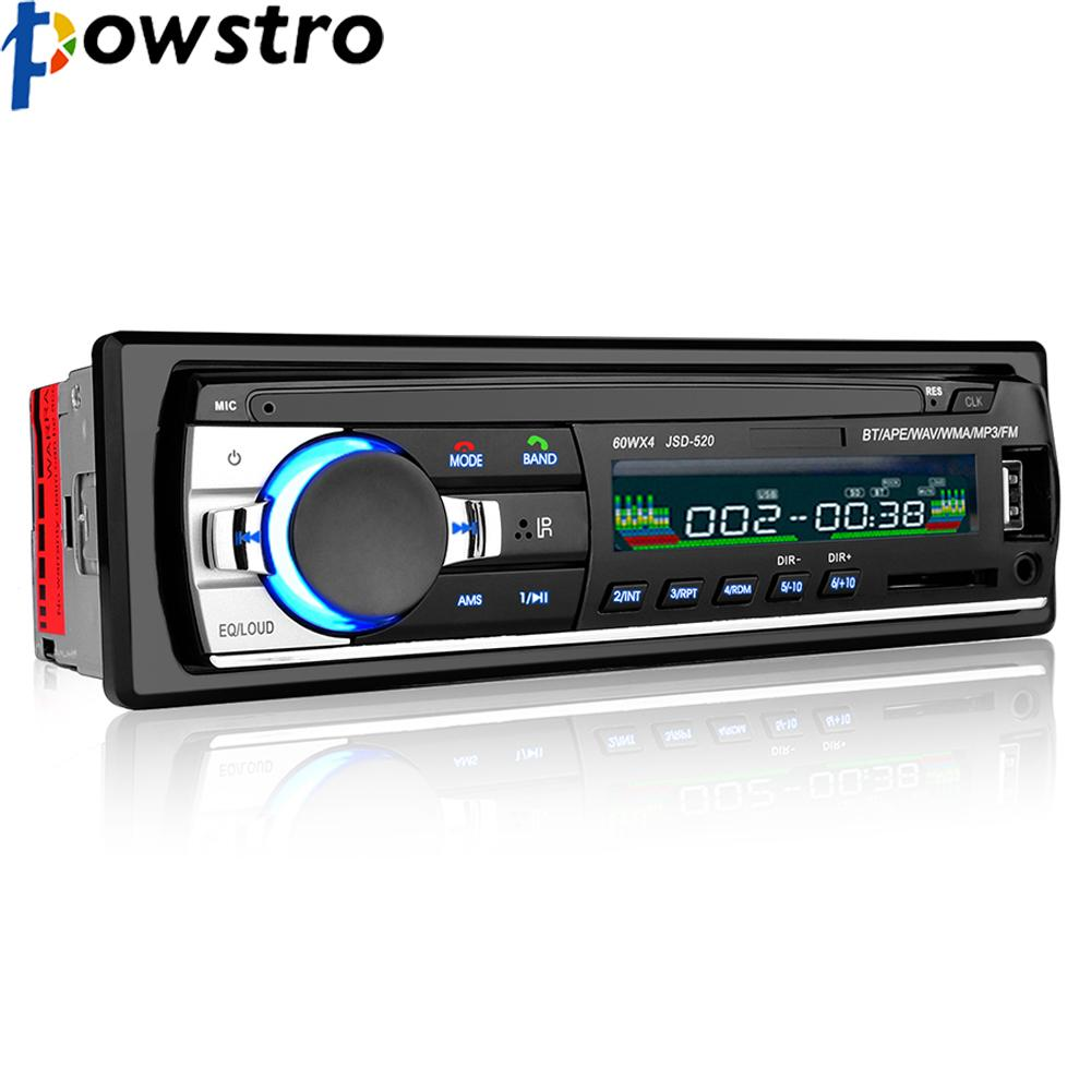 Powstro Bluetooth Stereo Audio In-Dash FM MP3 Radio Player With AUX-IN SD USB DC 12V MP3 MMC WMA FOR Car Radio Player