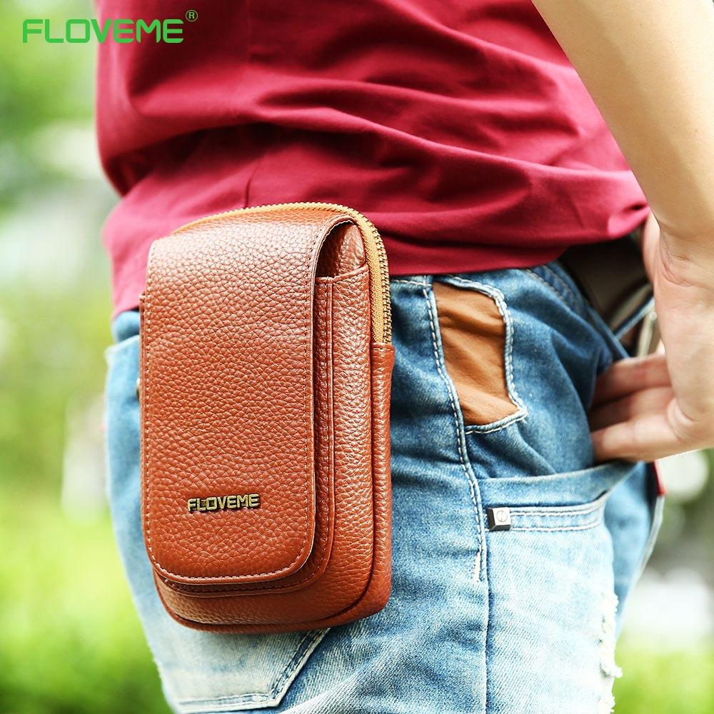 FLOVEME Universal 5.5 Leather Vertical Flip Waist Bag Wallet Case For iPhone X Back Cover For iPhone 8 7 6 6s Plus Phone Shlells