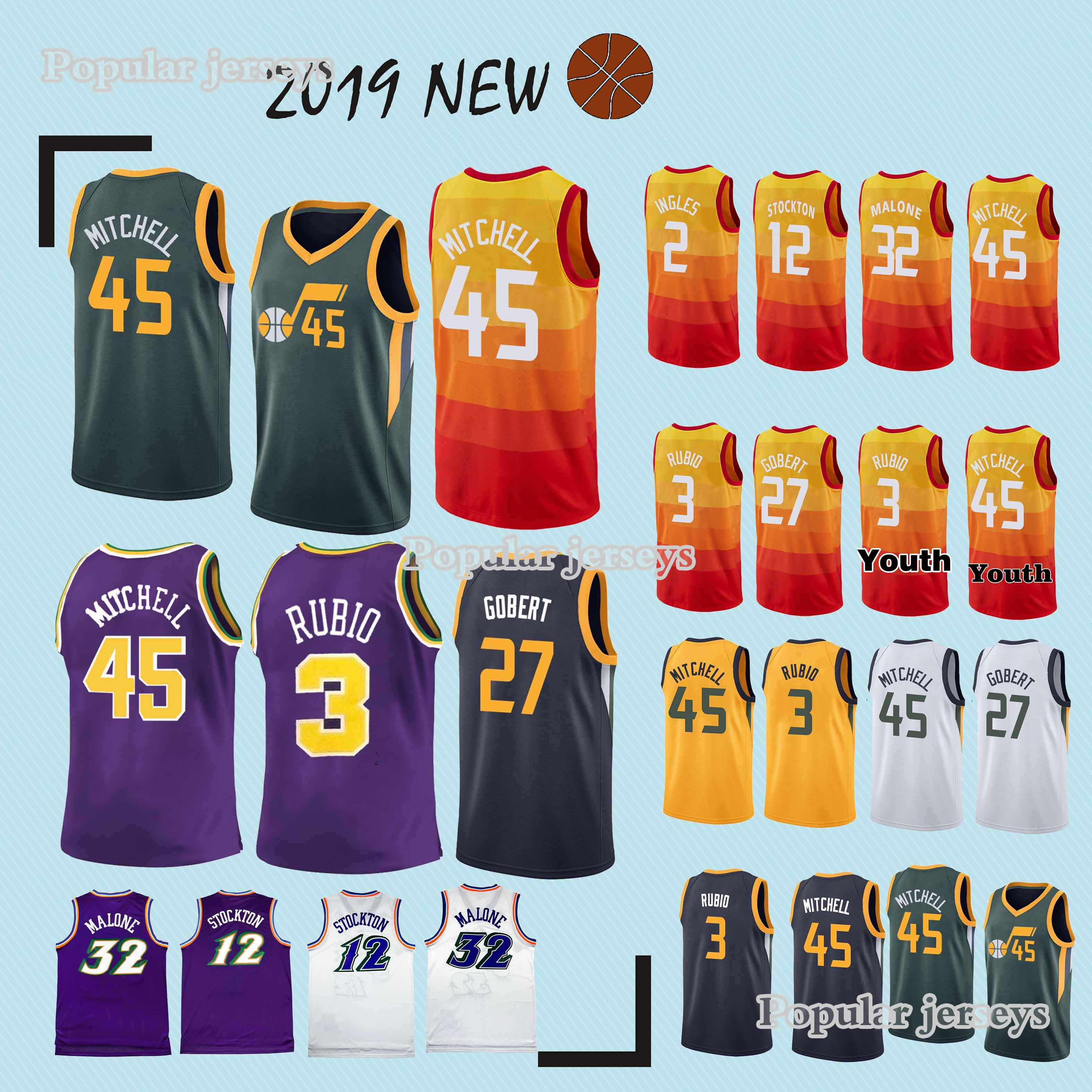 reputable site 39d05 b5cc4 45 Mitchell jerseys 3 Rubio 27 Gobert 2 Ingles new jersey 2019 latest  technology Top MEN shirt