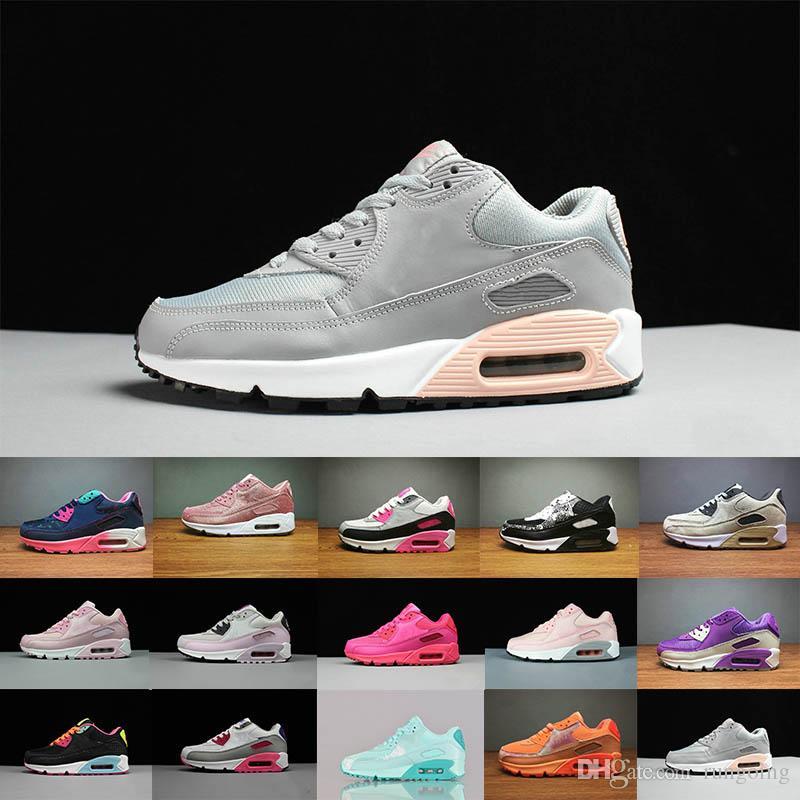 37ae49f2322 Compre Nike Air Max 90 Airmax Esporte Sapatilhas Sapatos Clássicos 90 Das  Mulheres Dos Homens Tênis De Corrida Preto Do Exército Verde Sports Trainer  Air ...