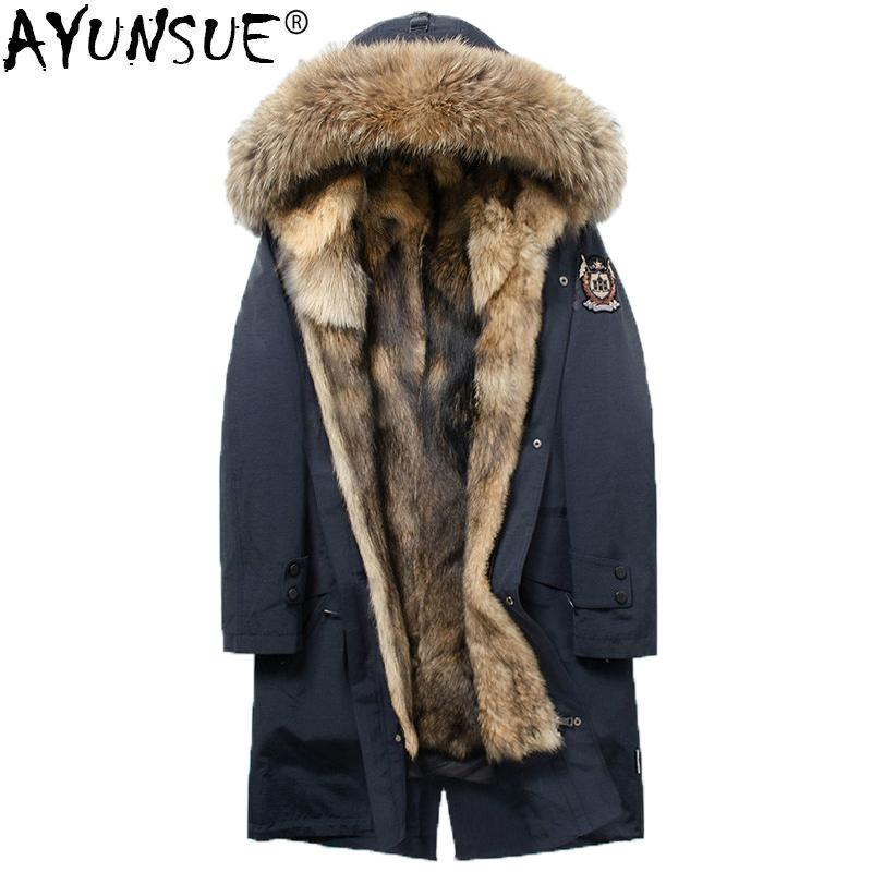 Wolf Fur Coat >> Ayunsue 2018 Parka Homme Real Wolf Fur Coat Men Long Winter Jacket Men Raccoon Fur Collar Long Parkas Hombre Invierno Kj1351