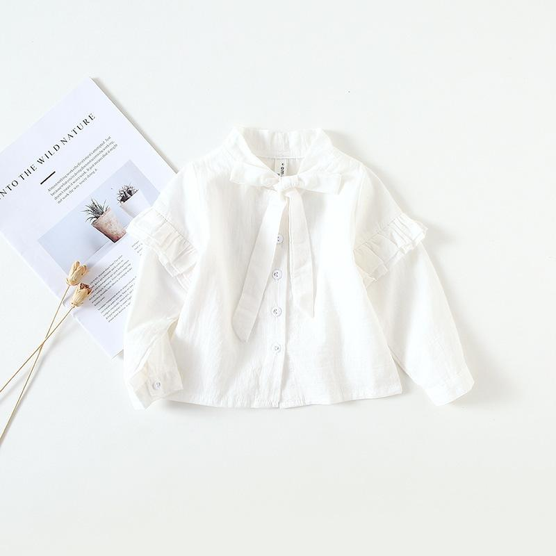 13165403 2019 Toddler Girl White Shirts 2019 Autumn Fashion Baby Girls Blouses Cute Long  Sleeve Ruffles Tops With Big Bow Tie Kids Clothes From Victorys08, ...