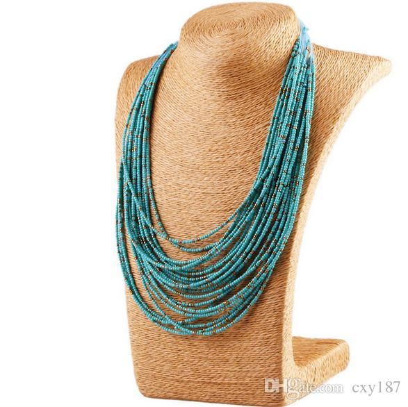 Bohemian Power Necklaces Hand-woven Beaded Statement Necklace Vintage Exaggerated Necklace Multi-layer Rice Beads Female Elegant Necklace