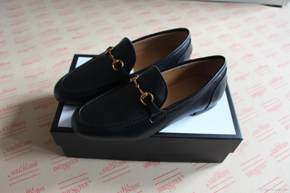 6cafc236ab0 Compre NUEVOS Mocasines Negros Para Mujer Zapatos De Cuero Genuino Para  Hombre Mocasines De Conducción Princetown Horsebit De Calidad Superior Con  Caja ...