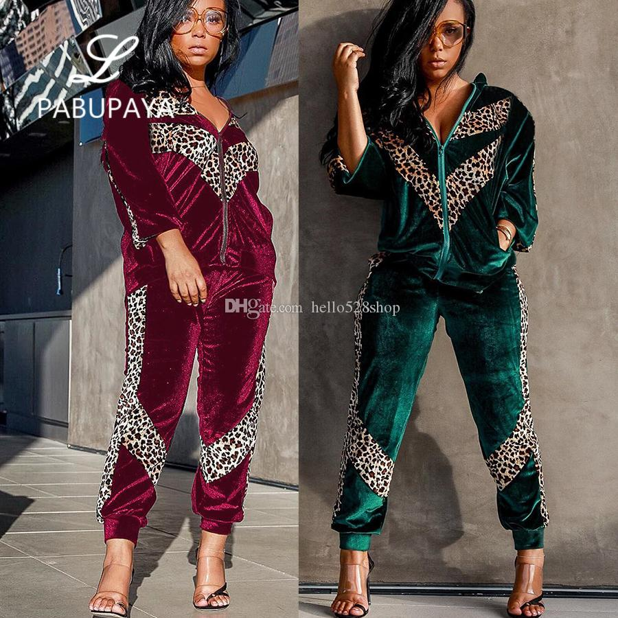 2019 Hello528shop Fashion Sexy Leopard Velvet Zipper Cardigan Casual  Tracksuits For Women Sets Sweater And Pants Jogging From Hello528shop b3a65808af