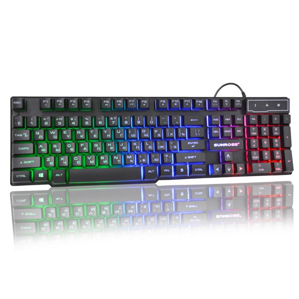 Mecânica colorido do arco-íris PC Iluminado retroiluminado Anti-skid Ergonomic 104 Chaves Acessórios Waterproof USB Wired Gaming Keyboard