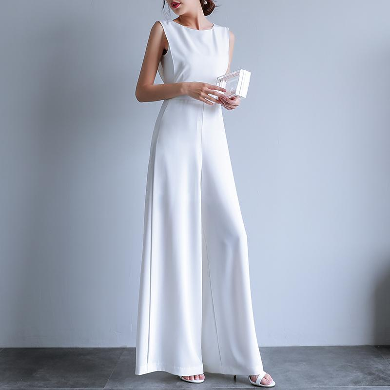 2019 Summer Female Puls Size Elegant Loose Jumpsuit Trousers Women Casual Long Pants Overalls In White Black MX190726