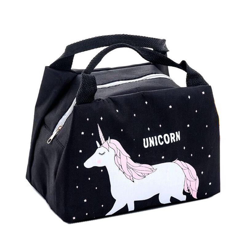 Girl Cartoon Animal Unicorn Lunch Bag Portable Waterproof Insulated Big  Cold Canvas Picnic Totes Case Kids Women Thermal Box
