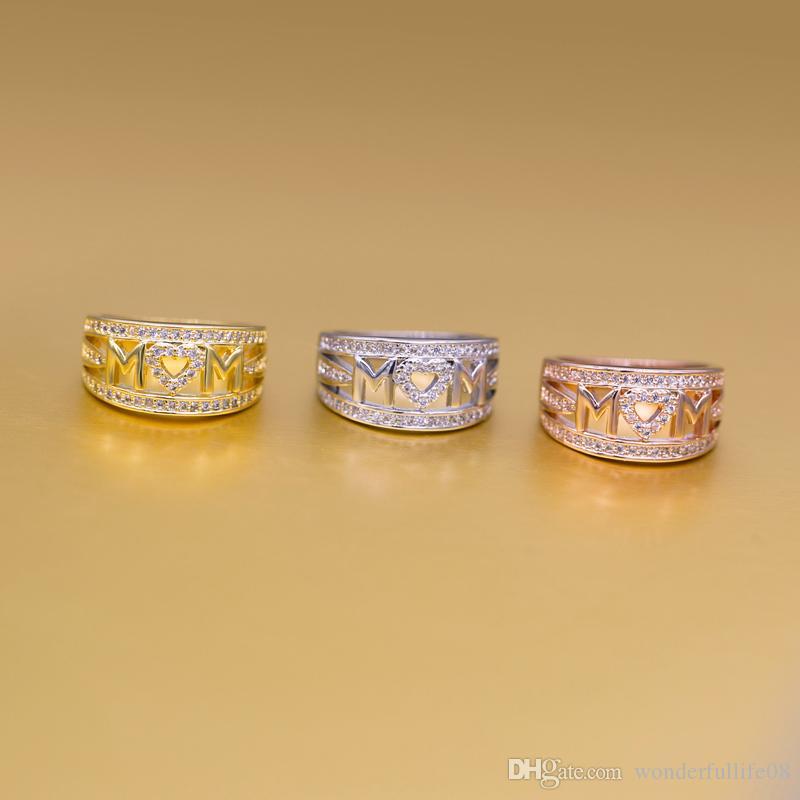 der Buchstabe MoM-Finger schellt drei Farben Liebesring Der Goldring der europäischen und amerikanischen Art mit freiem Verschiffen