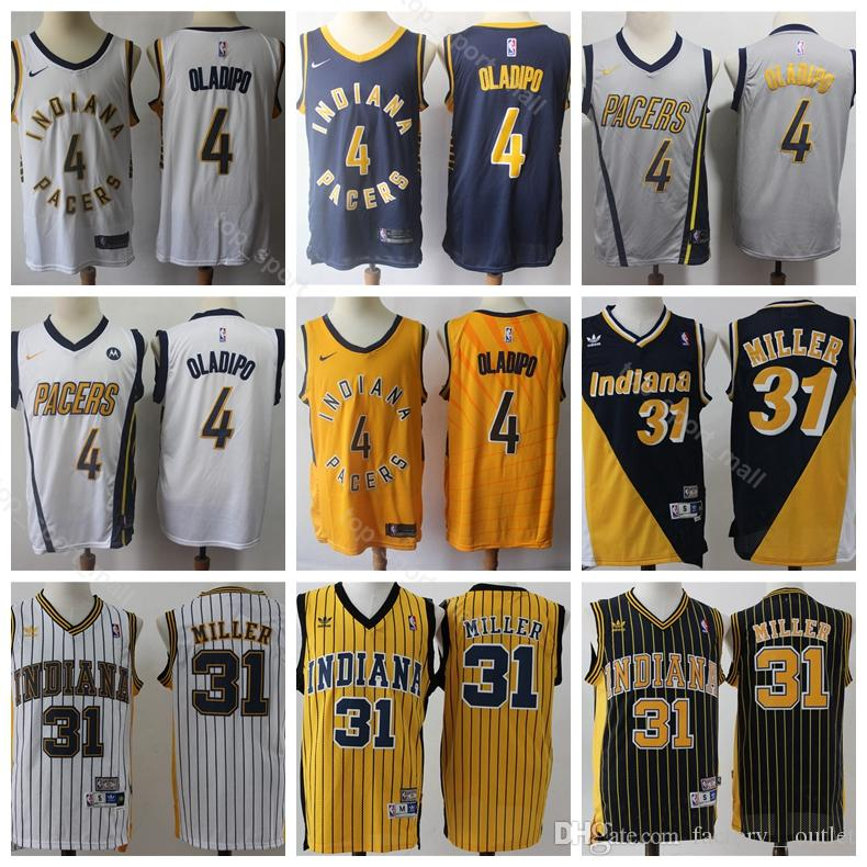 2b2a0f498ae 2019 Men Victor 4 Oladipo Jersey Indiana Basketball Pacers Reggie 31 Miller  Jerseys Edition City Navy Blue White Yellow Uniform From Vip sport