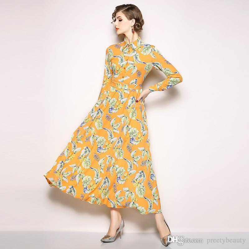 6ea46f669e Long Maxi Dress For Woman Maxi Floral Dresses For Girls Casual Going Out  Dress Vintage Long Sleeve Single Breasted Print Shirt Dress Long Sundresses  On Sale ...