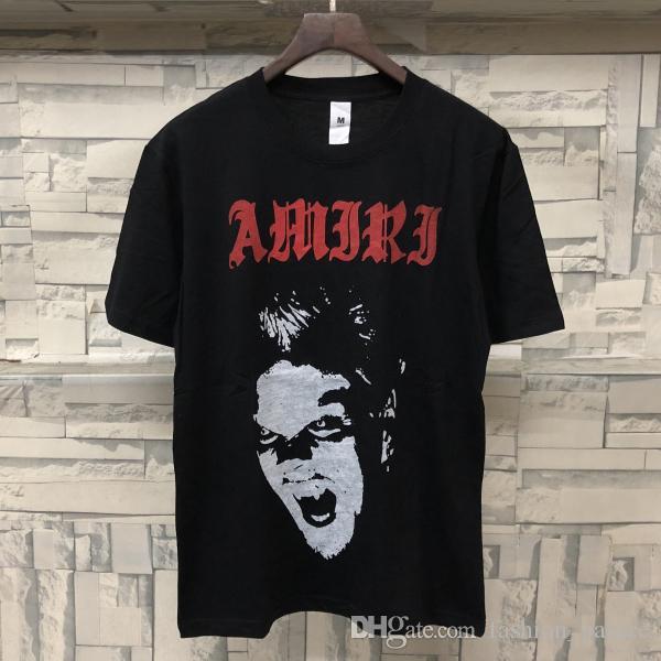 ee3879fb98 2019 T-shirt nera manica corta afflitta Tee uomo donna Hip Hop Streetwear  Club Top stampa lettera camicia di cotone CLI0324