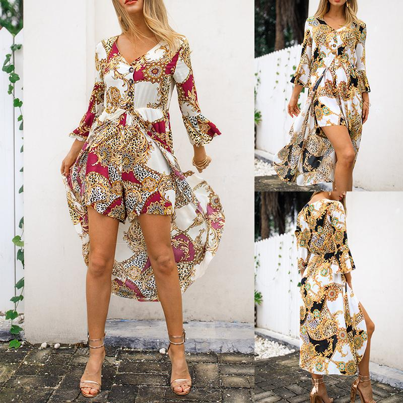 MYLEY 2019 Spring Women's New Seven-point Sleeve Shirt Jumpsuit Print Elegant Jumpsuit V-neck Commuter Hot Sale