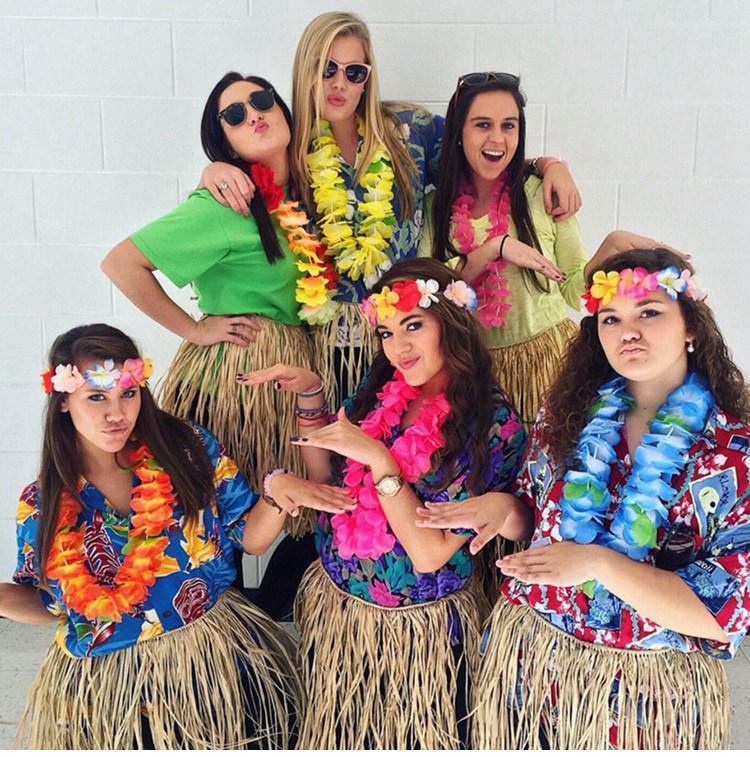QIFU 10 Stücke Hawaiian Party Künstliche Blumen leis Girlande Halskette Phantasie Hawaii Strand Blumen Luau Sommer Tropische Party Decor