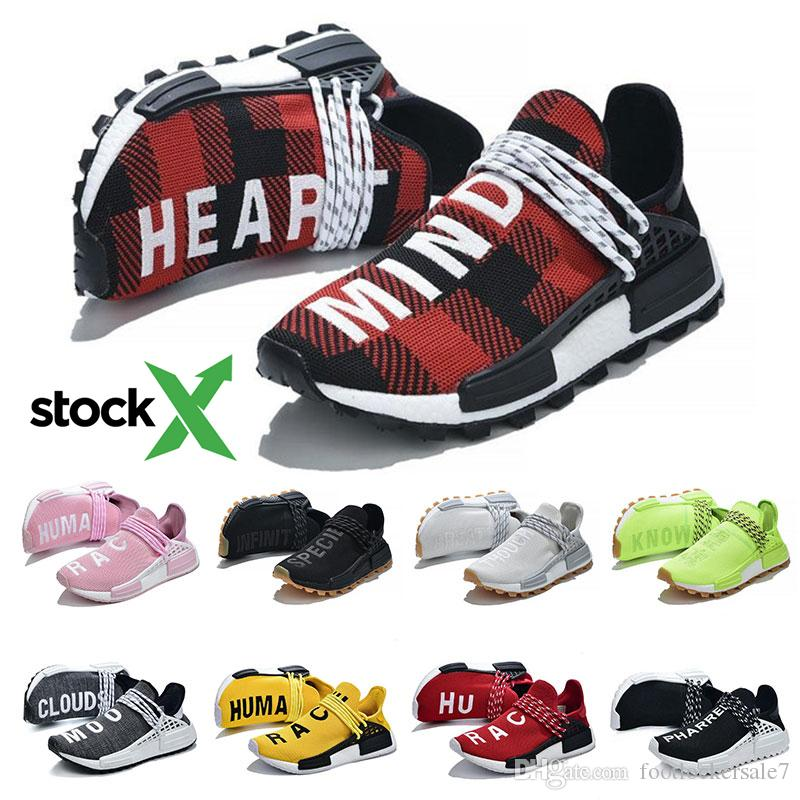 official photos 94e3a 32d28 Stock X New Nmd Human Race Black White Trainers Sneakers Pharrell Williams  HU Plaid Nerd Nobel ink Mens Women Casual Running Shoes 36-47