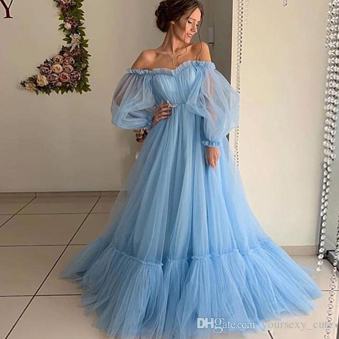 Sky Blue Prom Dresses With Off The Shoulder Tutu Tulle A Line Girls Pageant Dress Pleats Long Sleeves Cheap Evening Gowns Cheap