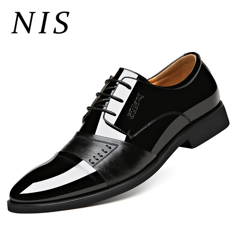 NIS Men Dress Shoes Business Shoes Leather Oxford Flats Patent Leather  Pointed Toe Lace Up Formal Wedding Men Flats Spring 2019 Formal Shoes Cheap  Formal ... 18a0594dc1d7