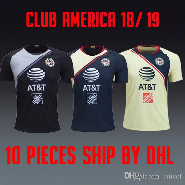 new products bb9ab cb7e0 Camisetas de fútbol Liga MX Club America 2018 2019 home yellow away Navy  blue GK Goalie black world cup 18 19 soccer jerseys football shirts
