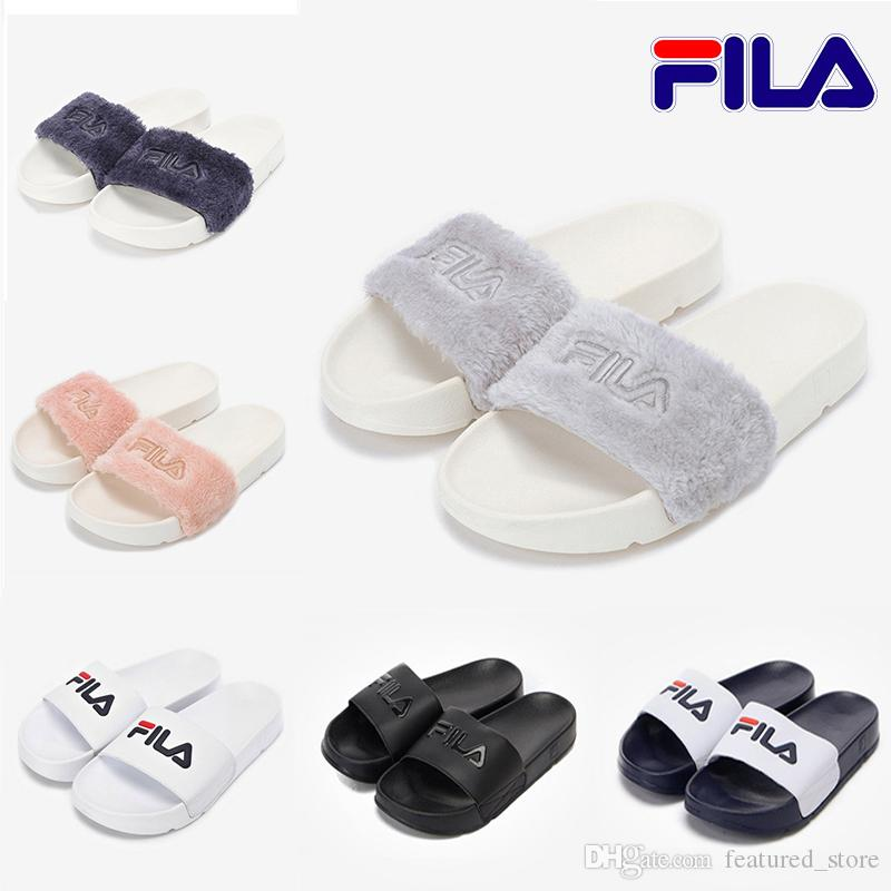 ad99343ccf1a 2019 New Fur Brand Disruptor2 Sandal Slippers Men Women Winter Sandals  Black White Anti Slipping Outdoor Soft Warm Shoes Beach Sandals 36 44 Girls  Boots ...