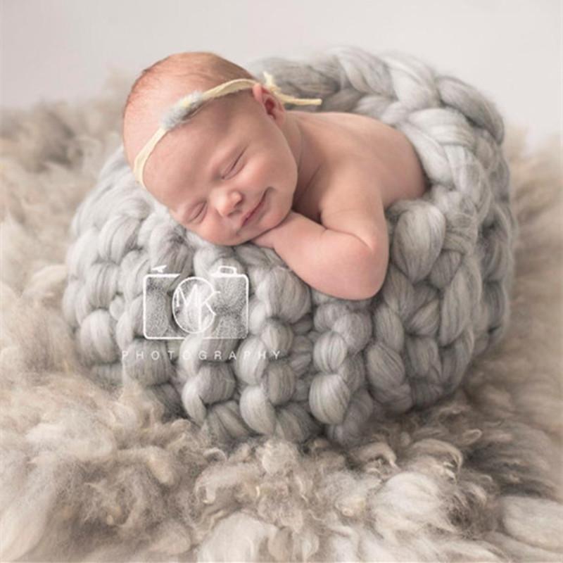 Großhandel Dicke Wolle Chunky Blanket Neugeborenes Foto Kostüm