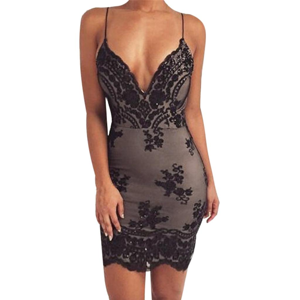 7bcc699c442 Sexy Women Sequin Lace Camisole Mini Dress Fashion Backless Party Flapper  Sleeveless Dress Deep V Neck Cocktail Ladies Short Dresses Floral Dresses  From ...