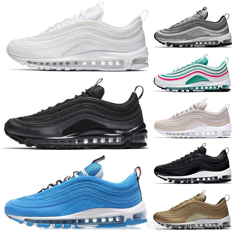9e1a9422ad64 Hot 97 Shoes Triple White Black Running Shoes Pink South Beach Og Metallic  Gold Mens Trainers Women Sports Sneaker Shoe Eur 36 45 Canada 2019 From ...