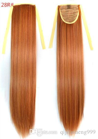 "131 Synthetic Ponytail Long Straight Hair 16""/22"" Clip Ponytail Hair Extension Blonde Brown Ombre Hair Tail With Drawstring"