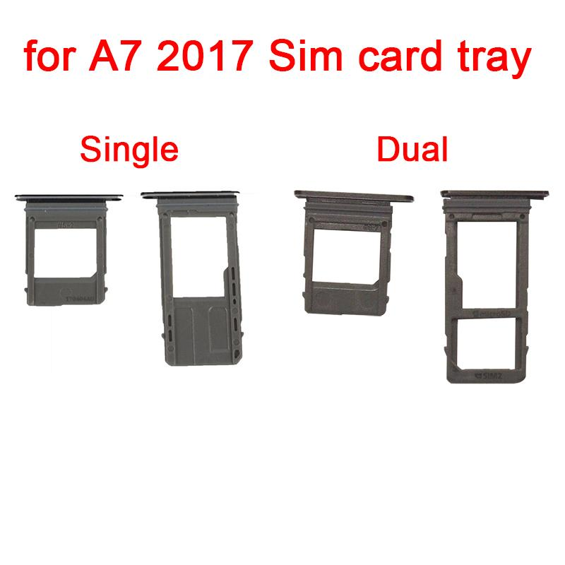 1Set/lot Single / Dual Sim Card Tray Micro SD Card Slot Holder For Samsung Galaxy A5 A7 2017 A520 A720 Replacement