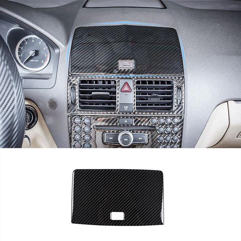 Center Console Navigation Panel Cover Trim For Mercedes Benz C class W204  2007-10 Carbon Fiber Audio Speaker Frame Decoration