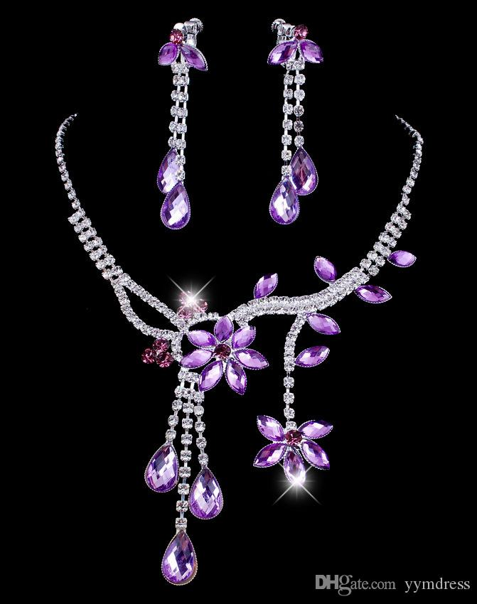 Trendy Crystal Bridal Jewelry Set 2019 necklaces diamond earrings Wedding jewellery sets for bride Bridesmaids Accessories
