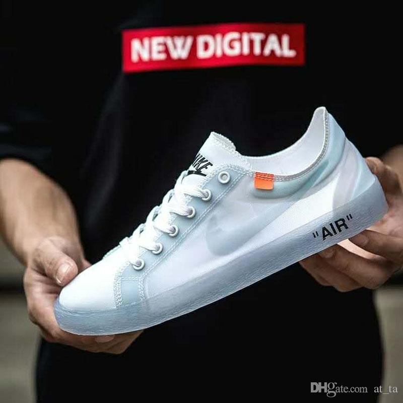 brand new 418b3 68a6e 2019 Fashion NK White Blazer Low Prm Transparent Mesh White Women Mens  Casual Running Shoes Athletic Sports Breathable Sneakers Size 36-44