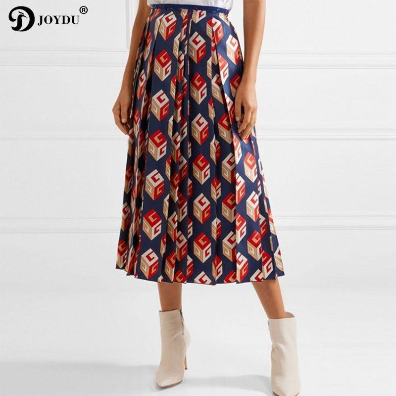eb3a47d62 JOYDU Runway Design Faldas Midi Para Mujer Cremallera Europea Mosca  Impresión Geométrica Moda Faldas Plisadas 2018 Vintage Falda jupe faldas